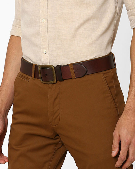 Two-Toned Leather Belt By WRANGLER ( Darkbrown )