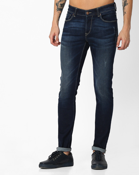 Lightly Washed Slim Fit Jeans By SPYKAR ( Dkblue )