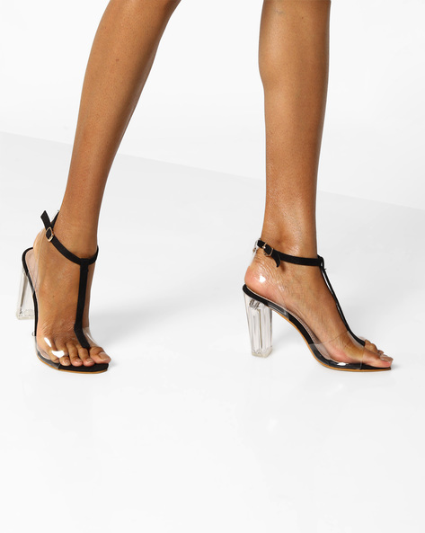 Glass Heeled T-strap Sandals By MFT Couture ( Black )