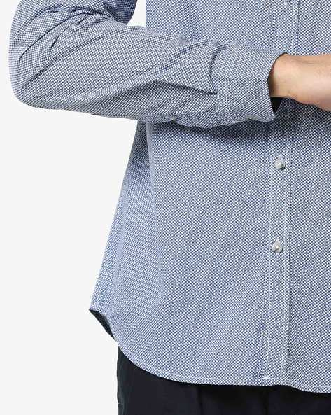 Printed Slim Fit Shirt With Button-Down Collar By AJIO ( Black )
