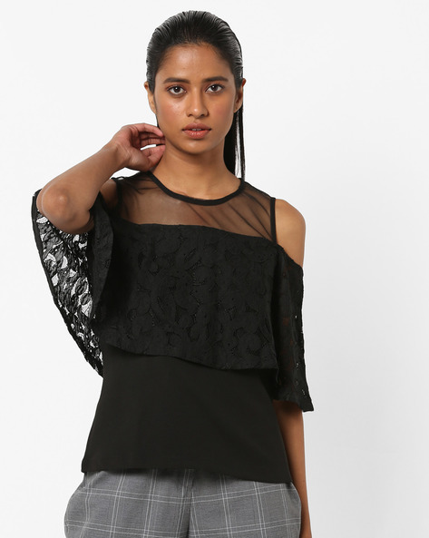 Cold-Shoulder Top With Lace Overlay By AJIO ( Black )