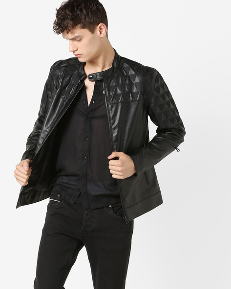 Jacket With Quilted Panel By Jack & Jones ( Black )