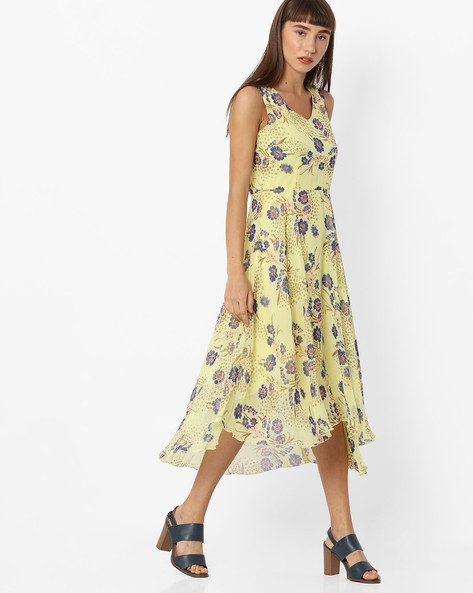 Floral Print A-line Dress With Asymmetric Hem By CODE By Lifestyle ( Yellow )