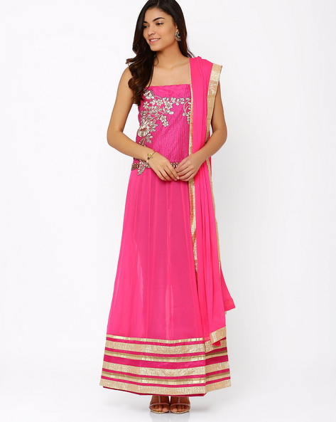 Georgette Semi-Stitched Suit By Viva N Diva ( Pink )