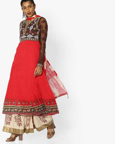 Embroidered Anarkali And Palazzo Set By Rain & Rainbow ( Red )
