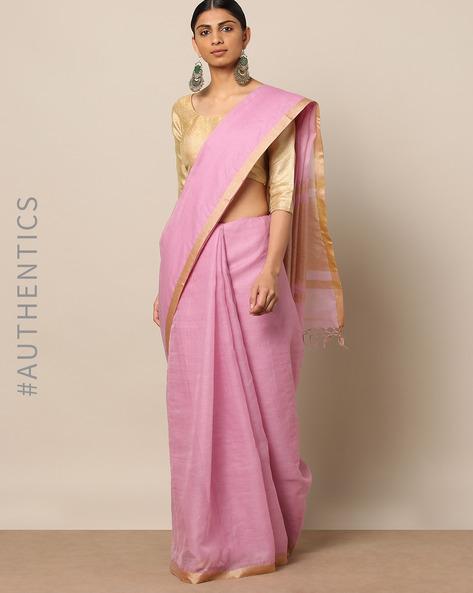 Handloom Pure Silk Cotton Saree With Zari Border By Indie Picks ( Pink )