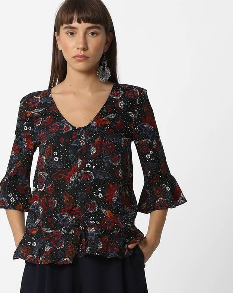 Floral Print Top With Tie-Up By Oxolloxo ( Multicolour )