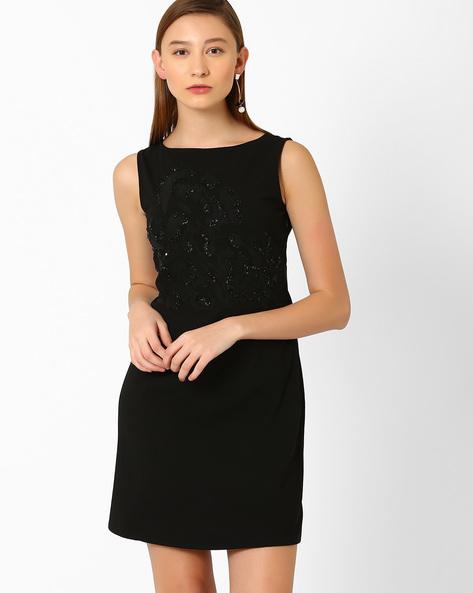 Sequinned Sheath Dress By AJIO ( Black )