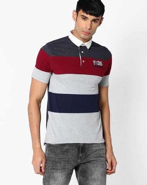 Cut & Sew Polo T-shirt By TEAM SPIRIT ( Offwhite )