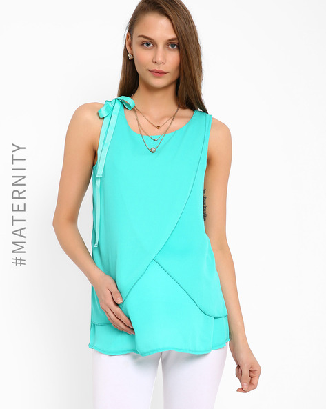 Envelope-Front Hybrid Nursing Top By AJIO ( Aqua )