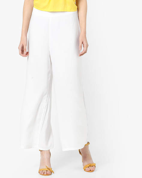 Palazzo Pants With Elasticated Waist By AJIO ( Offwhite )