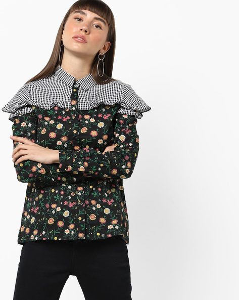 Floral Print Shirt With Checked Yoke By AJIO ( Black )
