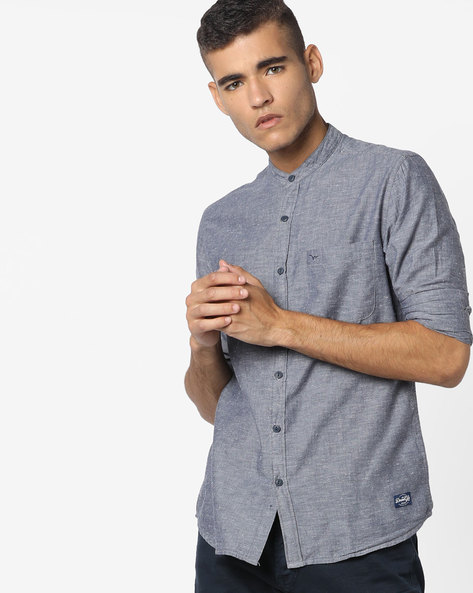 Slim Fit Shirt With Mandarin Collar By FLYING MACHINE ( Blue )