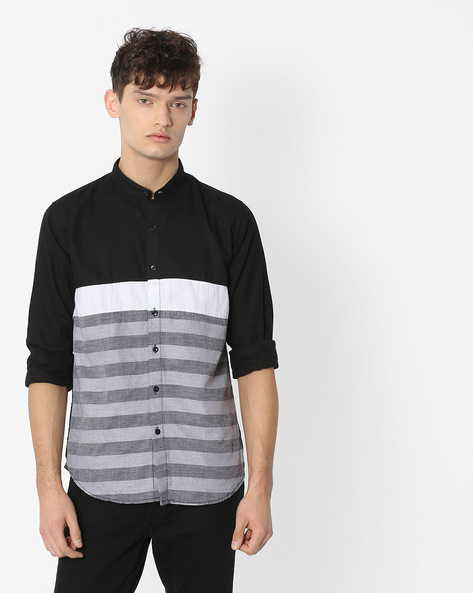 Striped Shirt With Band Collar By Campus Sutra ( Black )