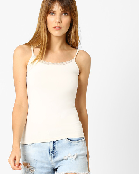 Strappy Top With Lace Trim By Vero Moda ( White )