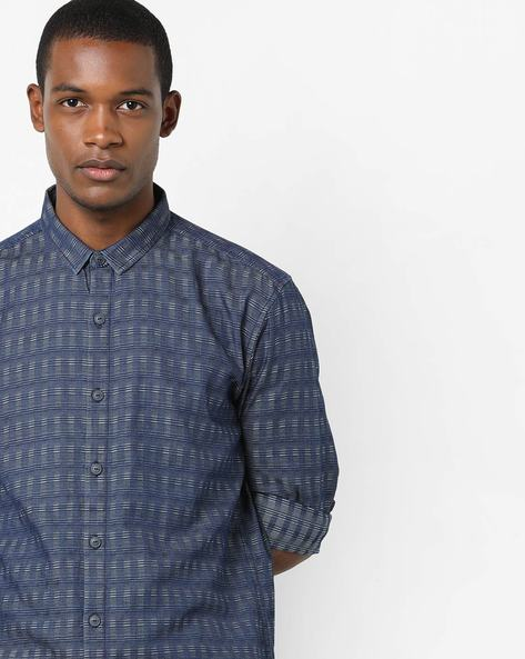 Classic Cotton Checked Shirt By VOI JEANS ( Indigo )