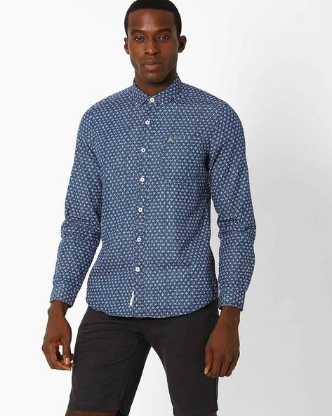 Floral Print Slim Fit Shirt By Lee ( Blue )