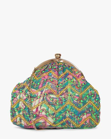 Printed Sling Clutch With Hand Embroidery By Neonia ( Green )