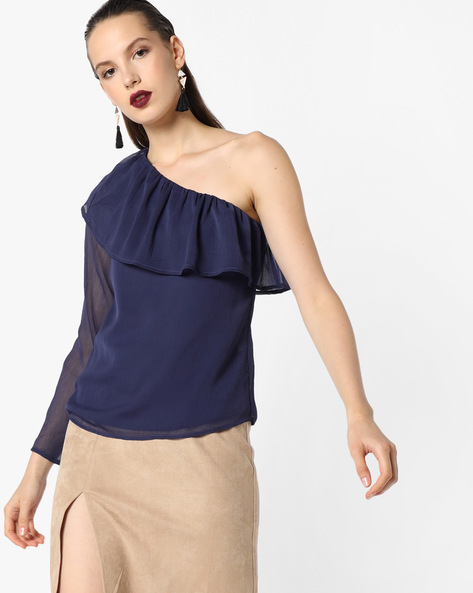 Semi-Sheer Top By Oxolloxo ( Blue )