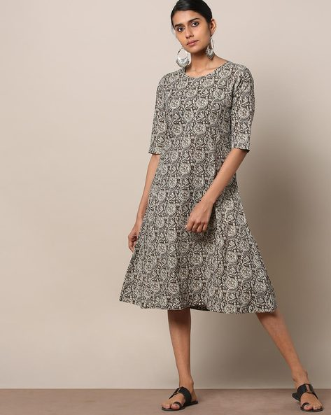 Printed Cotton Princess A-line Dress By Seasons ( Darkgrey )