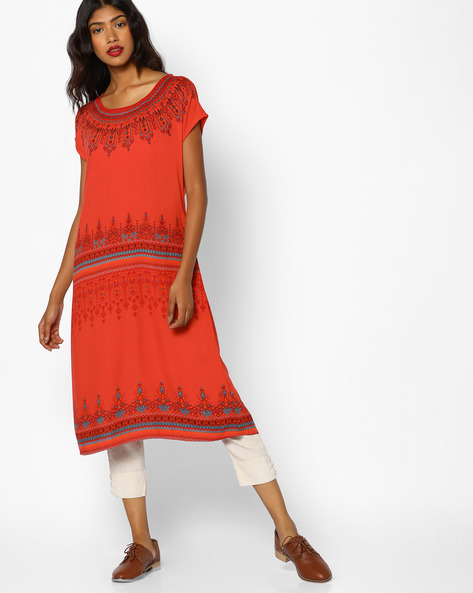 Printed Straight Kurta By Melange By Lifestyle ( Coral )