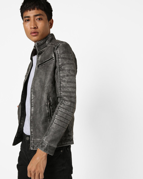 Slim Fit Open-Front Biker Jacket By The Indian Garage Co ( Black )