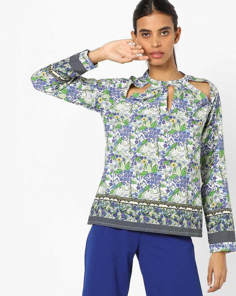 Floral Print Collared Top By Oxolloxo ( Multi )