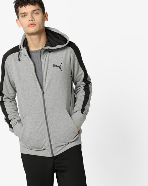 Hooded Sweatshirt With Front Zipper By Puma ( Grey )
