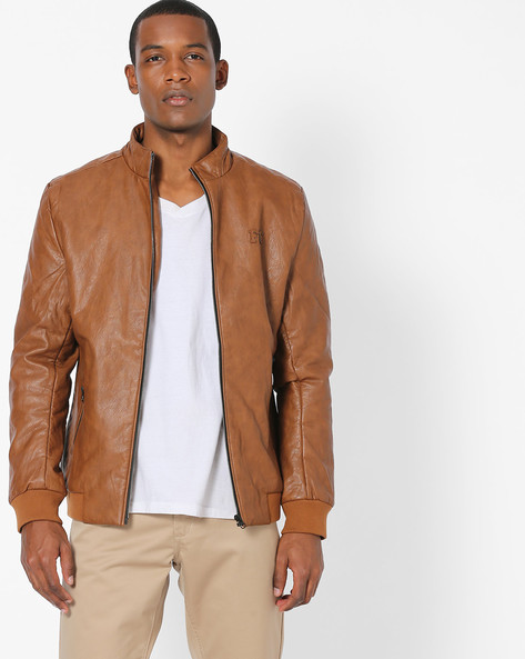 Textured Slim Fit Bomber Jacket By Fort Collins ( Khaki )
