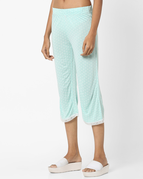 Printed Capris With Lace Trims By Ginger By Lifestyle ( Aqua )