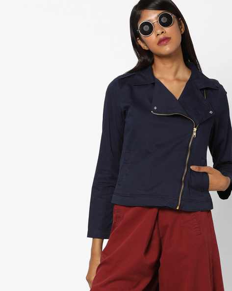 Cotton Jacket With Front Zipper By AJIO ( Navyblue )