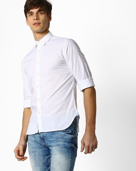 Ditsy Print Shirt With Curved Hem By Pepe Jeans ( White )