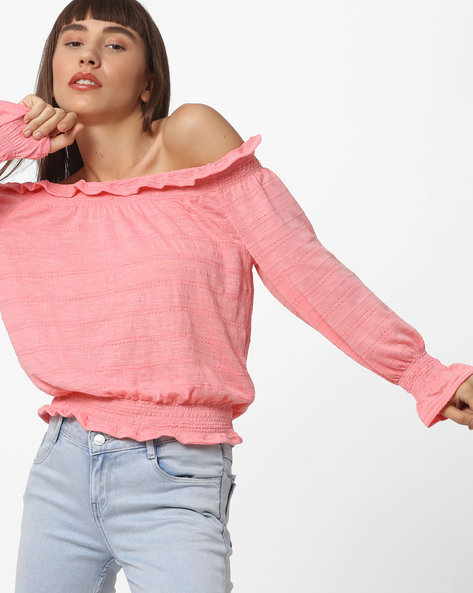Off-Shoulder Top With Bell Sleeves By RIO ( Pink )