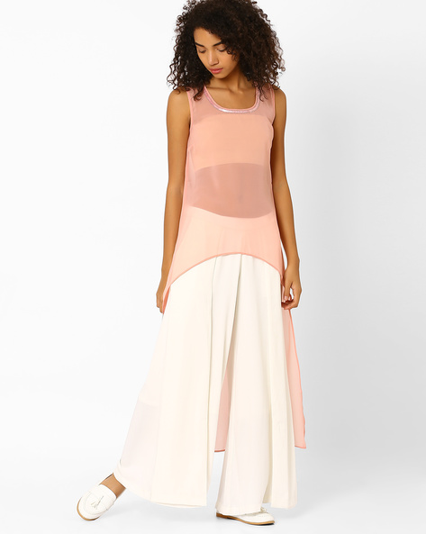 Sheer Maxi Top With Embellishments By Lotus Threads ( Blush )