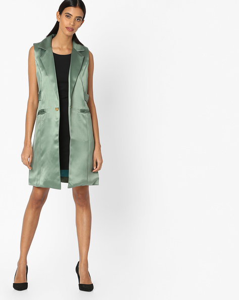Sleeveless Trench Coat With Notched Lapel By Sassafras ( Green )
