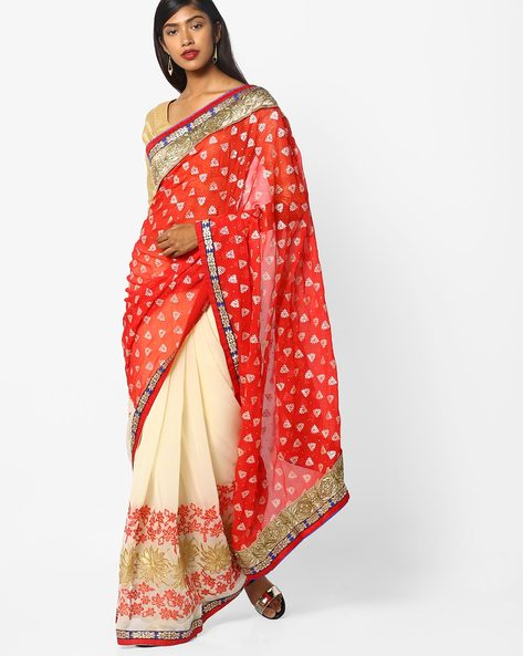 Embroidered Colourblock Saree By CHHABRA 555 ( Red )