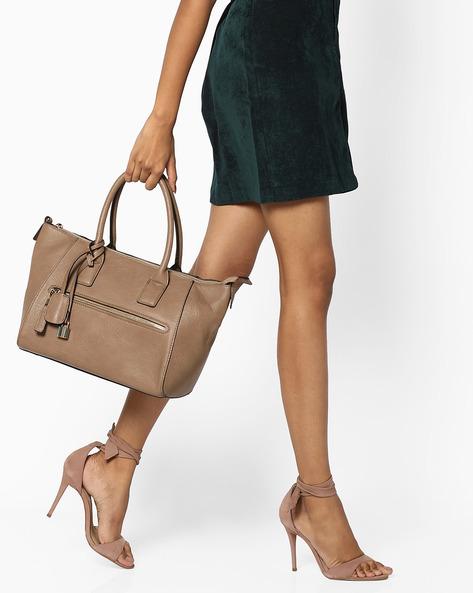 Handbag With Metal Accents By FUR JADEN ( Beige )