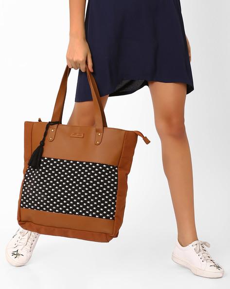 Jacquard Tote Bag With Tassel By Kanvas Katha ( Brown )