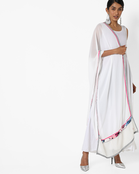 Dupatta With Contrast Detailing By W ( White )