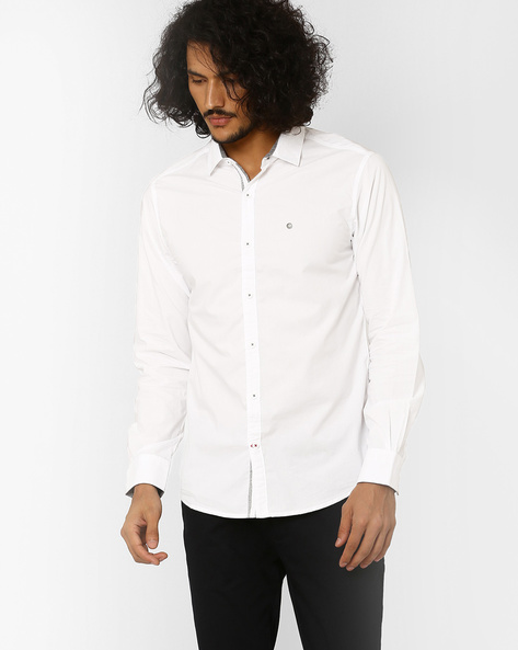 Slim Fit Shirt With Spread-Collar By SPYKAR ( White )