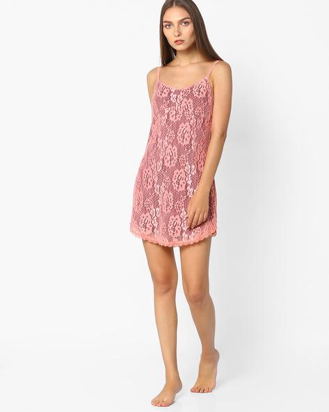 Lace Strap Dress By Mystere Paris ( Peach )