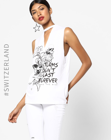 Printed Top With Choker Neckline By TALLY WEiJL ( White )