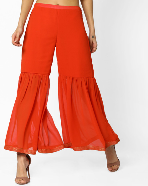 Sharara With Elasticated Waist By AJIO ( Coral )