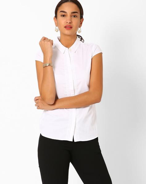 Shirt With Lace Trim By AJIO ( White )