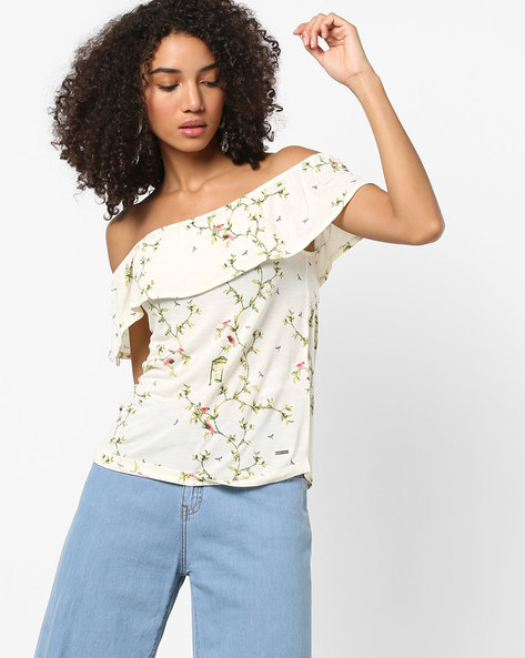 Printed Off-Shoulder Top With Bodice Overlay By Vero Moda ( Cream )