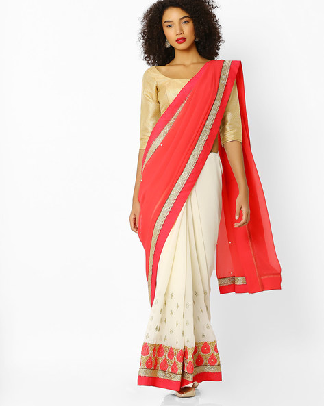 Embroidered Mysore Silk Saree With Blouse By Florence ( Red )