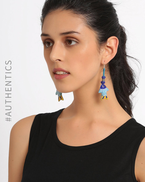 Hand Painted Jaipur Blue Pottery Earrings By Anicca ( Blue ) - 460017546001