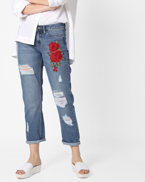 Heavily Distressed Cropped Jeans By AJIO ( Indigo )