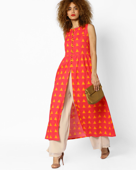 Geometric Print Kurta With Front Slit By AJIO ( Pink )