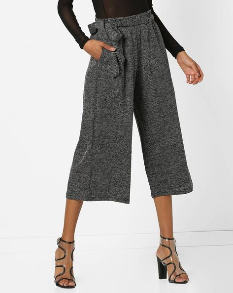 Mid-Rise Culottes With Tie-Up By And ( Black )